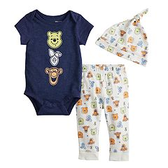 e60d2165c Disney's Winnie The Pooh Baby Graphic Bodysuit, Printed Pants & Hat Set by  Jumping Beans