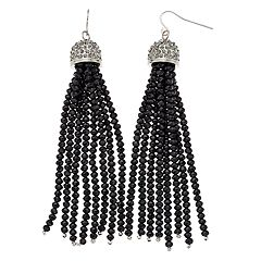 TREND Simulated Crystal Beaded Tassel Drop Earrings