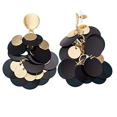 Gold Tone & Black Sequin Disc Drop Earrings