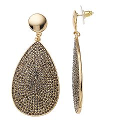 Gold Tone Simulated Crystal Teardrop Earrings