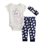 Disney's Aristocats Baby Girl Graphic Bodysuit, Print Pants & Headband Set by Jumping Beans®