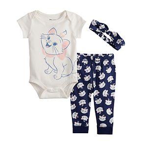 Disney's Aristocats Baby Girl Graphic Bodysuit, Print Pants & Headband Set by Jumping Beans®