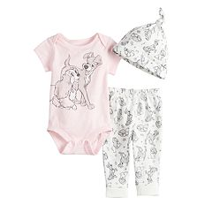 Disney's Lady and the Tramp Baby Girl Bodysuit, Printed Pants & Hat Set by Jumping Beans®