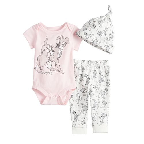 2091a4b10 Disney's Lady and the Tramp Baby Girl Bodysuit, Printed Pants & Hat Set by  Jumping Beans®