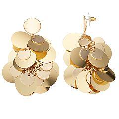 Gold Tone Sequin Disc Drop Earrings