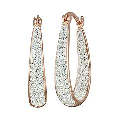 Chrystina Crystal Inside Out Oval Hoop Earrings