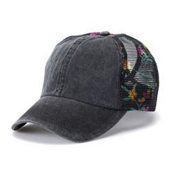 Women's Mudd® Floral Mesh Back Baseball Cap
