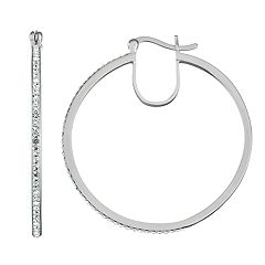 Chrystina Crystal Open Hoop Click-It Earrings