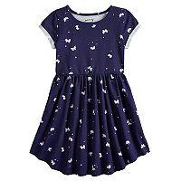 Girls 4-12 Jumping Beans Printed Shirttail-Hem Dress (Multiple Color)