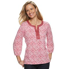 Women's Cathy Daniels Embellished Scroll Splitneck Top