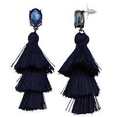 Simulated Crystal Cha Cha Tassel Earrings