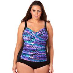 Plus Size Croft & Barrow® Bust Minimizer Twist-Front One-Piece Swimsuit