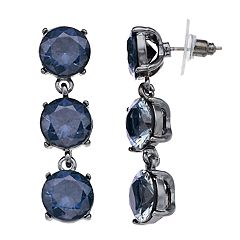 Three Cubic Zirconia Linear Drop Earrings