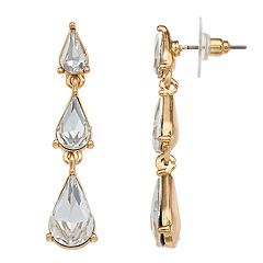 Teardrop Simulated Stone Linear Drop Earrings