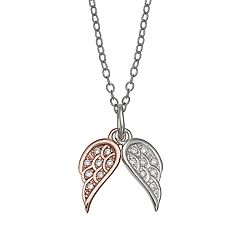 PRIMROSE Two-Tone Cubic Zirconia Double Wing Necklace