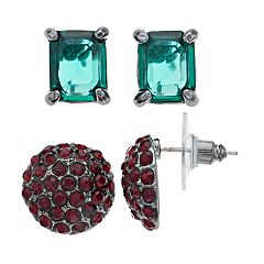 Cubic Zirconia Square Stud and Snowball Earring Set