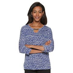 Women's Cathy Daniels Dot Keyhole Top