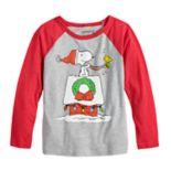 Boys 4-12 Jumping Beans® Peanuts Snoopy Holiday Raglan Graphic Tee
