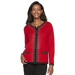 Women's Cathy Daniels Embellished Zip-Front Cardigan Sweater