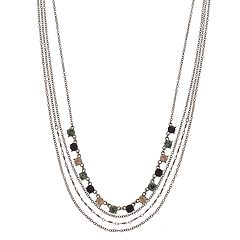 Simulated Stone Detail Multi Strand Necklace