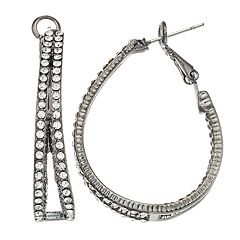 Simulated Crystal Double Hoop Earrings