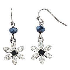 Simulated Crystal & Flower Drop Earrings