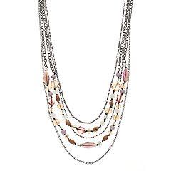 Multi Colored Bead Detail Multi Strand Necklace