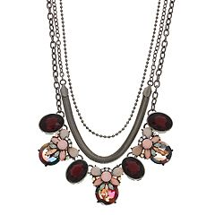 Simulated Stone Flower Motif Multi Strand Statement Necklace