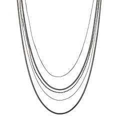 Long Rhinestone Detail Multi Strand Necklace