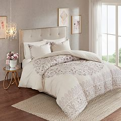 Madison Park Evelyn 3-piece Cotton Printed Reversible Duvet Cover Set