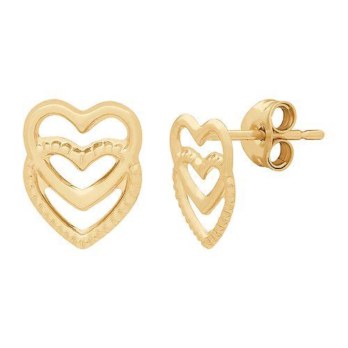 Everlasting Gold 14k Gold Heart Stud Earrings