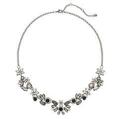 Flower & Simulated Crystal Statement Necklace