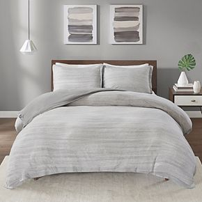 Urban Habitat Space Dyed Melange Cotton Jersey Knit Duvet Cover Set