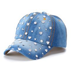 Women's Mudd® Embellished Denim Baseball Cap