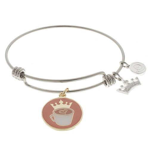 """love this life """"Caffeine Queen"""" Sterling Silver Charm Bangle Bracelet"""