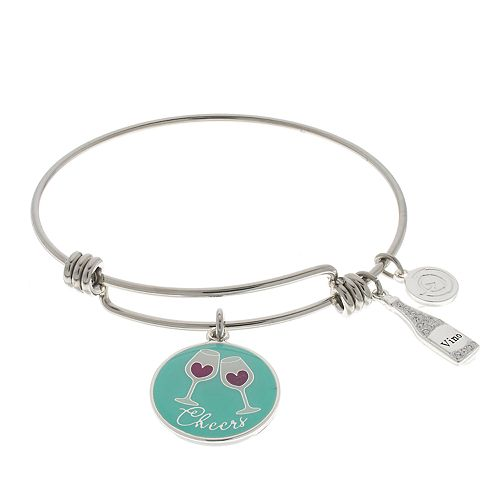 "love this life ""Wine Flies"" Wine Glass Charm Bangle Bracelet"