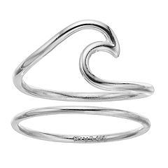 love this life Sterling Silver Wave Ring Set