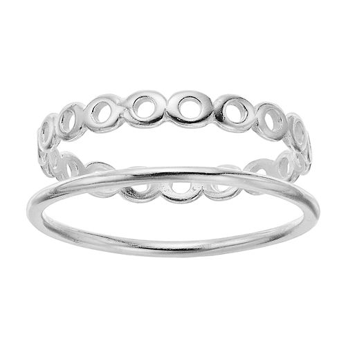 love this life Sterling Silver Infinity Ring Set