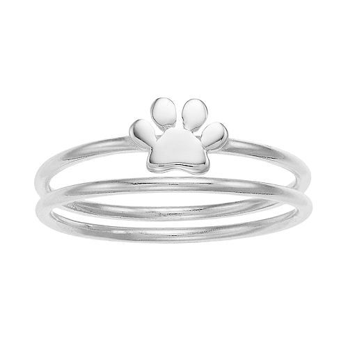 love this life Sterling Silver Paw Ring Set