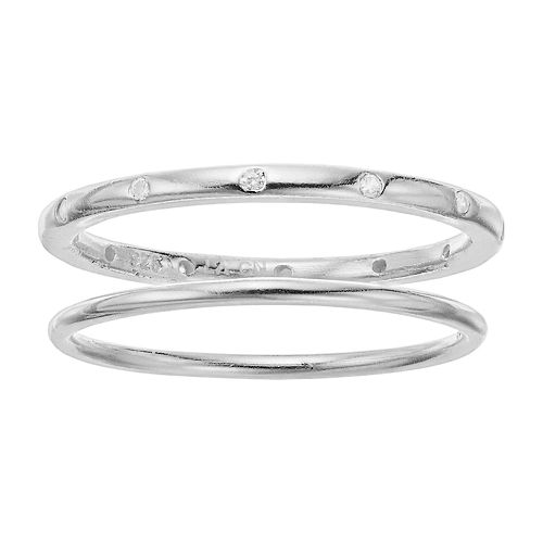 love this life Sterling Silver Cubic Zirconia Ring Set
