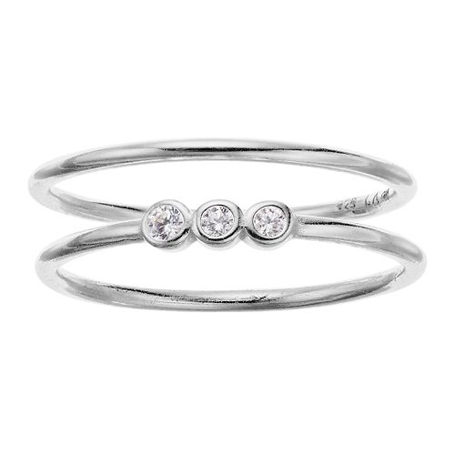 love this life Sterling Silver 3-Stone Cubic Zirconia Ring Set