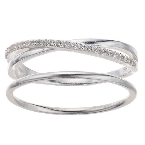 love this life Sterling Silver Cubic Zirconia Crisscross Ring Set