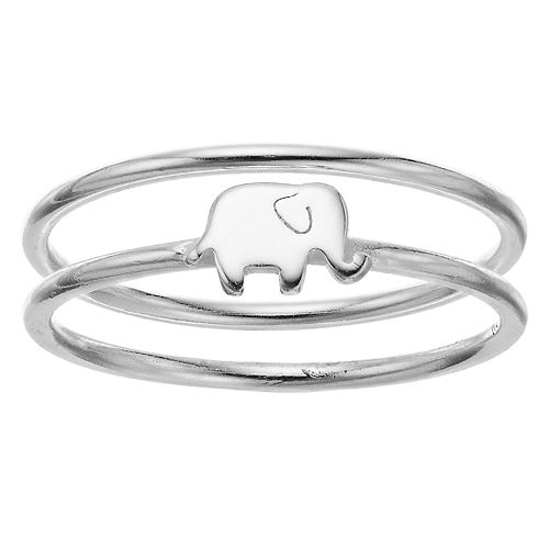 love this life Sterling Silver Elephant Ring Set