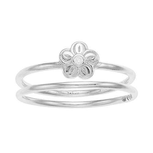 love this life Sterling Silver Flower Ring Set