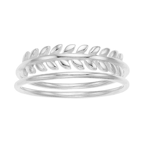 love this life Sterling Silver Leaf Ring Set