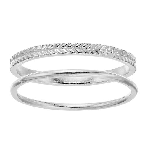 love this life Sterling Silver Rope Ring Set