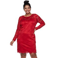 Juniors' Plus Size IZ Byer Fitted Lace Dress