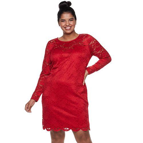 Juniors' Plus Size IZ Byer Fitted Lace Dress