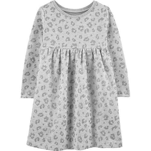 Baby Girl Carter's Glitter Print Fleece Babydoll Dress
