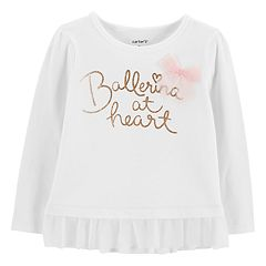 Baby Girl Carter's Ruffle-Hem Glittery Graphic Top